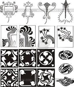 Einfache Ornamente im Jugendstil - Royalty-Free Vektor-Clipart