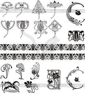 einfache florale ornamente im jugendstil klipart. Black Bedroom Furniture Sets. Home Design Ideas