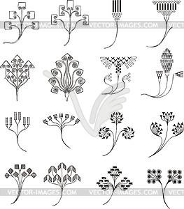 einfache florale ornamente im jugendstil vektorisiertes. Black Bedroom Furniture Sets. Home Design Ideas