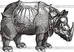 Rhinozeros (Grafik von Albrecht Dürer) - Vektorgrafik