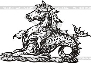Sea unicorn - vector clipart