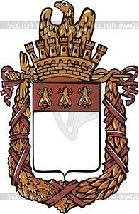 Französischer heraldischener kaiserlicher Schild mit Kranz - Vektorgrafik