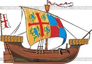 Mittelalterliches Frachtschiff - Vektorgrafik