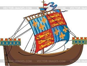Mittelalterliches Schiff - Vector-Clipart EPS
