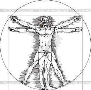 Der vitruvianische Mensch von Leonardo da Vinci - Vektorgrafik