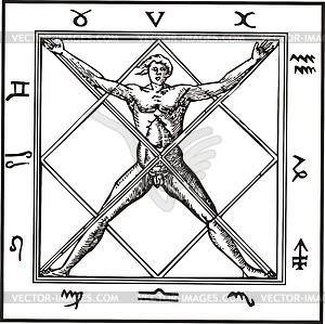 Sternzeichen Gravur - Vektorgrafik