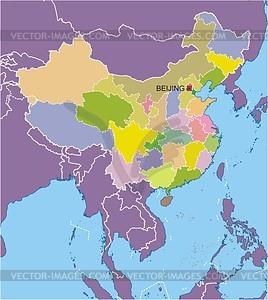Karte von China - vektorisierte Abbildung