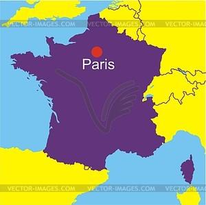 Karte von Frankreich - Vector-Illustration