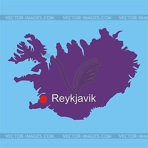 Karte von Island - Vektorgrafik