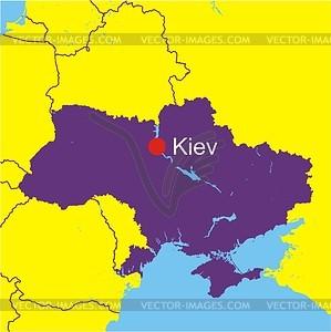 Карта Украины - векторный клипарт