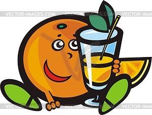 Obst mit Getränk - Vektorgrafik