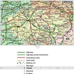 Straßenkarte von Tschechien - Vektorgrafik