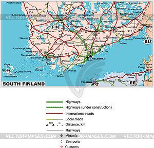 Straßenkarte von Süd-Finnland - Vektorgrafik