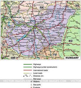 Straßenkarte von Ungarn - Vektorgrafik