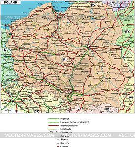 Fahrplan von Polen - Vektorgrafik