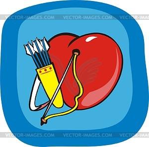 Herz, Bogen und Köcher mit Pfeilen - Vektorgrafik