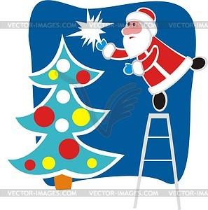 Weihnachtsmann verkleidet Weihnachtsbaum - Vektorgrafik