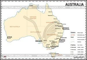 Karte von Australien - farbige Vektorgrafik