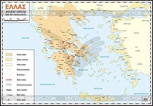 Antike Karte Griechenlands (Ellas) - Vektorgrafik