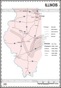 Karte von Illinois - Vektorgrafik
