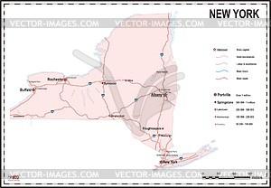 Karte von New York - Vektorgrafik