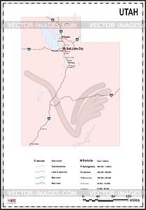 Karte von Utah - Vektorgrafik