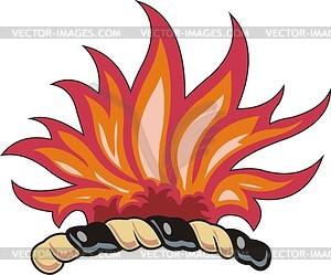 Helmkleinod mit Flammen - Vektorgrafik