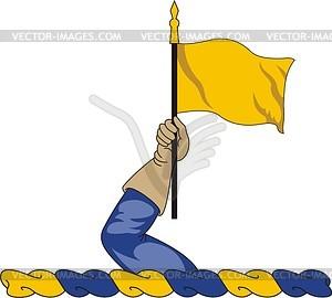 Helmkleinod mit Hand und Flagge - Vektorgrafik