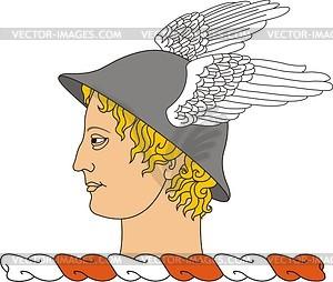Helmkleinod mit Kopf von Hermes - Vektorgrafik
