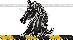 Helmkleinod mit schwarzem Pferdekopf - Vektorgrafik
