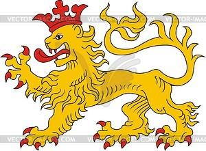 Heraldischer Löwe in der Krone - Vektorgrafik