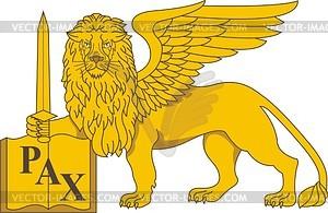 Venezianischer Löwe von St. Mark mit Schwert - Vektorgrafik