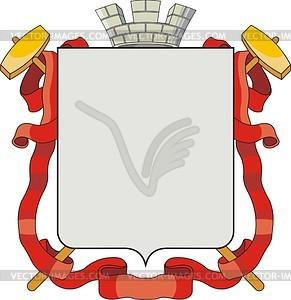 Wappenschild mit der Krone, Band und Hammern - Vector Clip Art