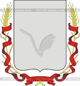 Wappenschild mit Band und Ährenkranz - Vektorgrafik