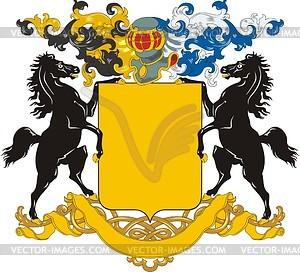 Wappenschild mit Pferden-Schildhaltern - Vektorgrafik