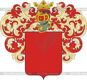 Russischer edler Wappenschild mit Helm und Helmdecke - Vektor-Clipart EPS