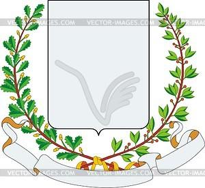 Wappenschild mit Kranz aus Eichen- und Lorbeerblättern - Vector-Design