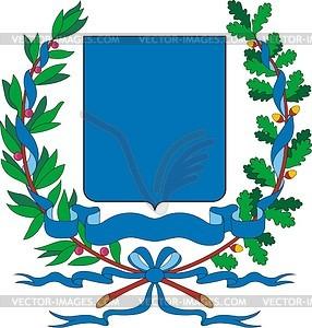 Wappenschild mit Kranz aus Eichen- und Lorbeerblättern - Vector-Bild