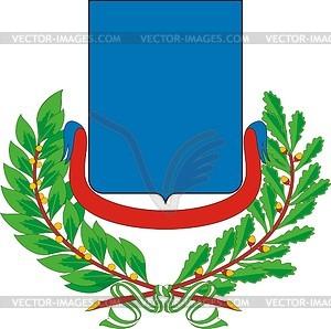 Wappenschild mit Kranz aus Eichen- und Lorbeerblättern - Vector-Clipart