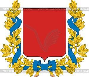 Wappenschild mit Band und Kranz aus Eichenblättern - Vektor-Clipart