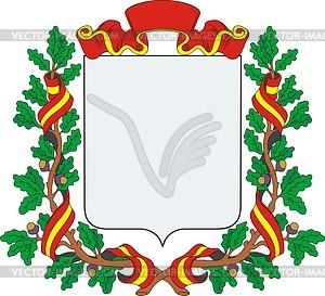 Wappenschild mit Band und Kranz aus Eichenblättern - Stock-Clipart