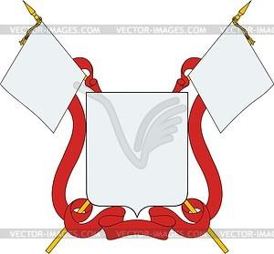 Wappenschild mit Band und Fahnen - Vektorgrafik