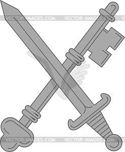 Gekreuzte Schlüssel und Schwert - Vektorgrafik