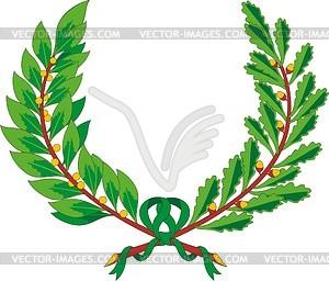 Heraldischer Kranz von Lorbeer- und Eichenblättern - Vektorgrafik