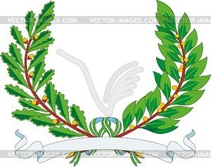 Heraldischer Kranz von Lorbeer- und Eichenblättern mit Band für Wahlspruch - Vektorgrafik