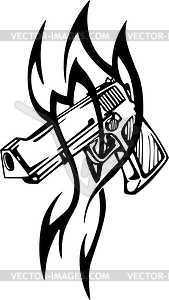 Pistole Tattoo - Vektor-Skizze