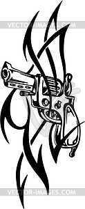 Revolver Tattoo - vektorisiertes Clip-Art