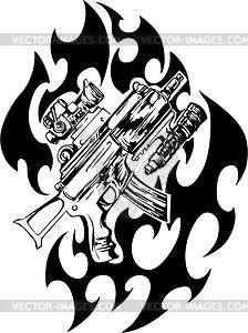 Pistole Flammentattoo - Vektorgrafik-Design