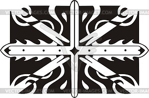 Union Jack ornamentales Muster - Vinyl-Ready Vektor-Clipart