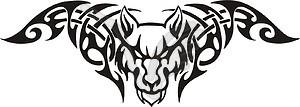 Symmetrisches Tattoo mit Wolf - Vektorgrafik